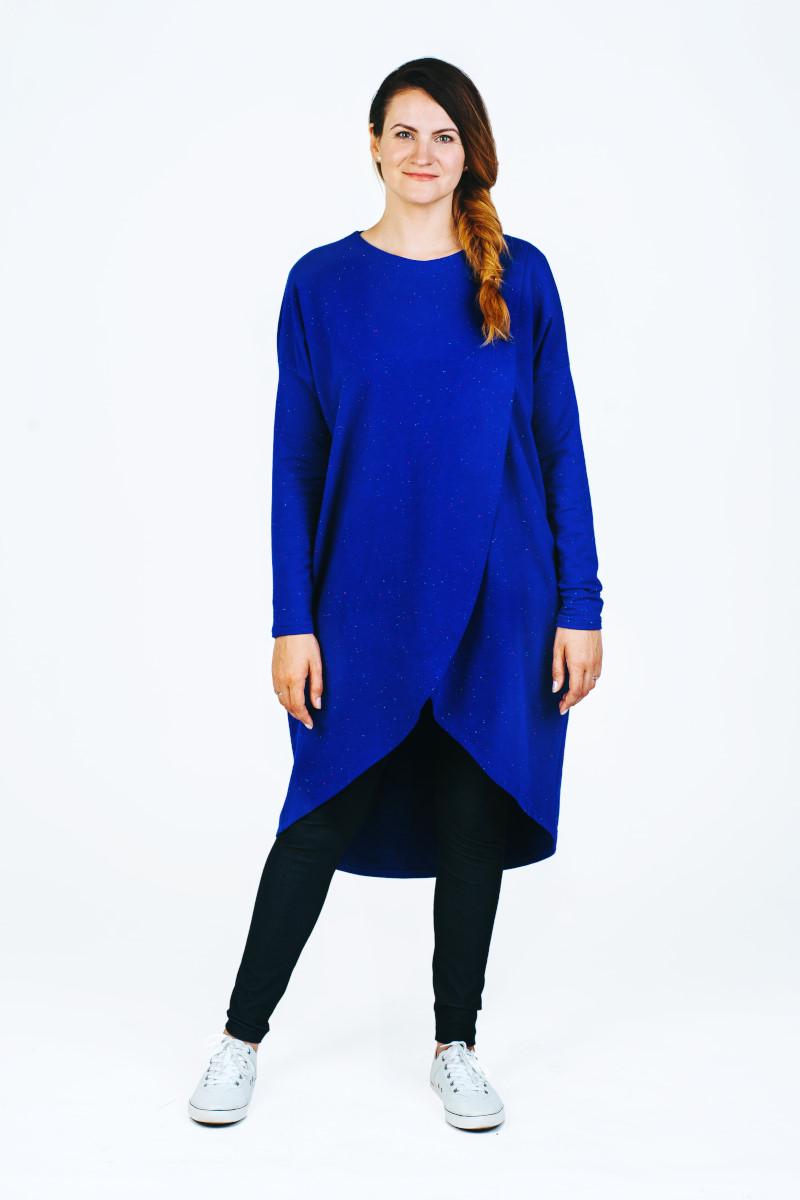 Patogi tunika kardiganas mėlynos spalvos
