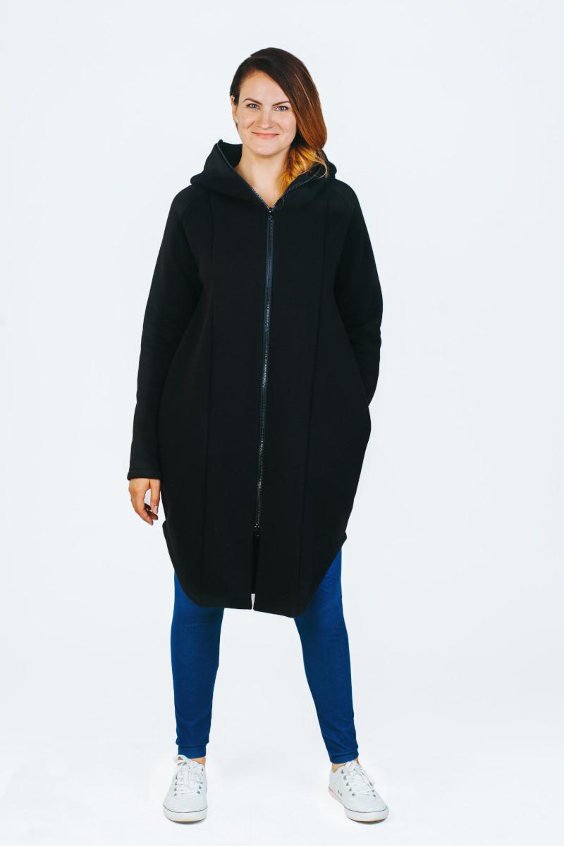 šiltas juodas užsegamas nerasa džemperis su gobtuvu