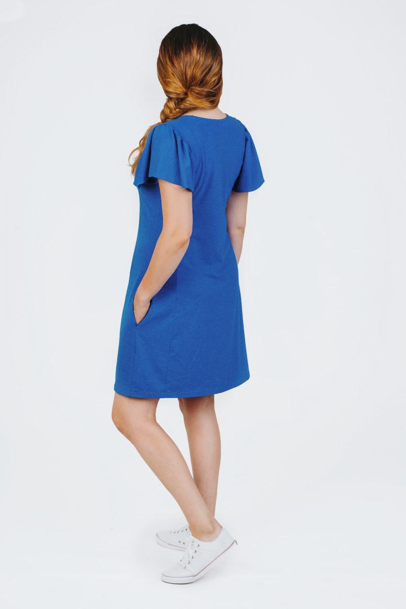 nerasa mėlyna trikotažinė suknelė vasarai