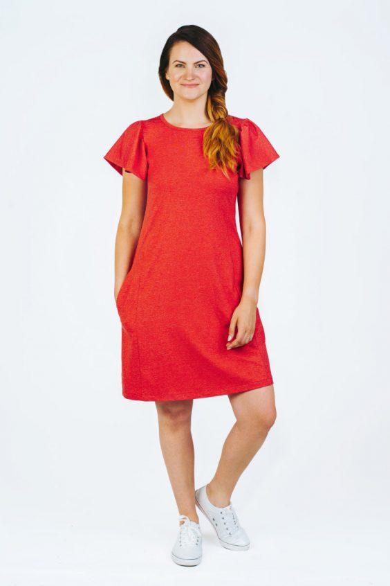 raudona suknelė rauktomis rankovėmis DRUGELIS