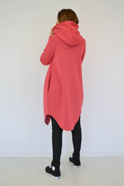 Red women cotton zip up jacket – hoodie 'SEA'