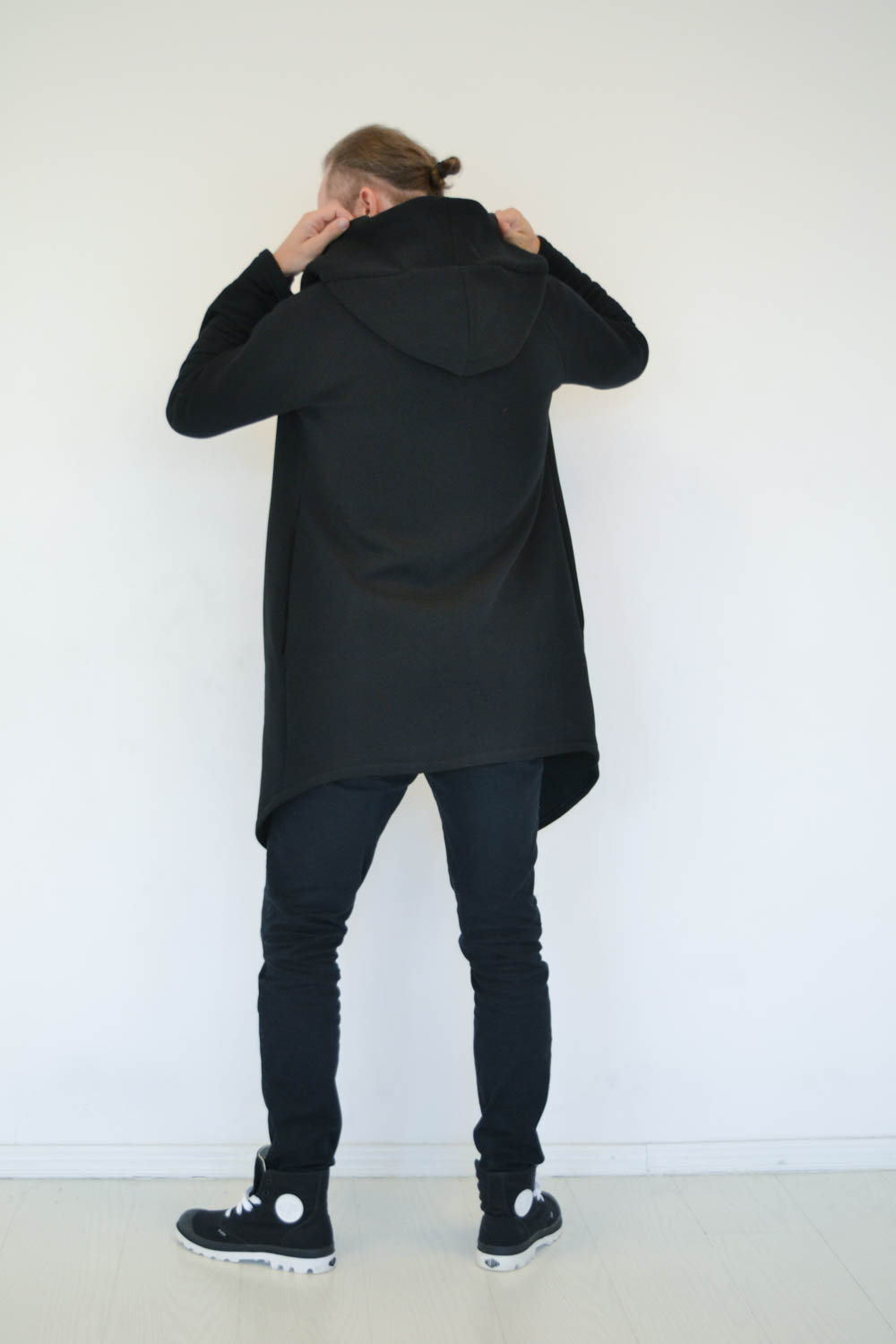 Black Zip up asymmetric coat for men and women with hood and side pockets 'WIND'