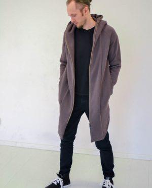 'VĖJAS' Vyriškas džemperis vasarai su užtrauktuku – šviesiai rudas