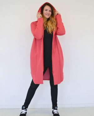Red long women cotton zip up jacket - hoodie 'SEA'