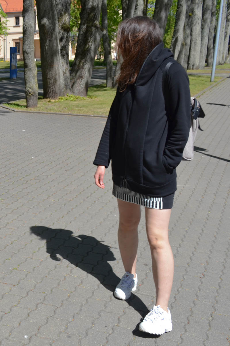 Black short cotton knit summer jacket with hood and zipper 'ROAD'