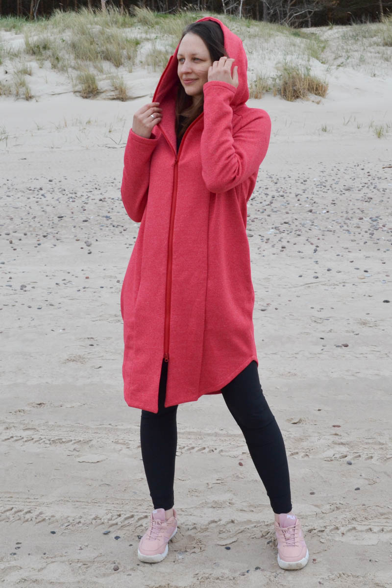 Red long women cotton zip up jacket – hoodie 'SEA'