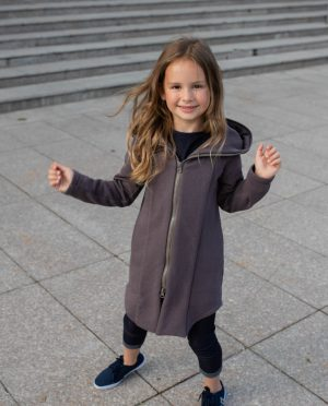 Brown hooded summer outwear for kids - jumper 'SEA'