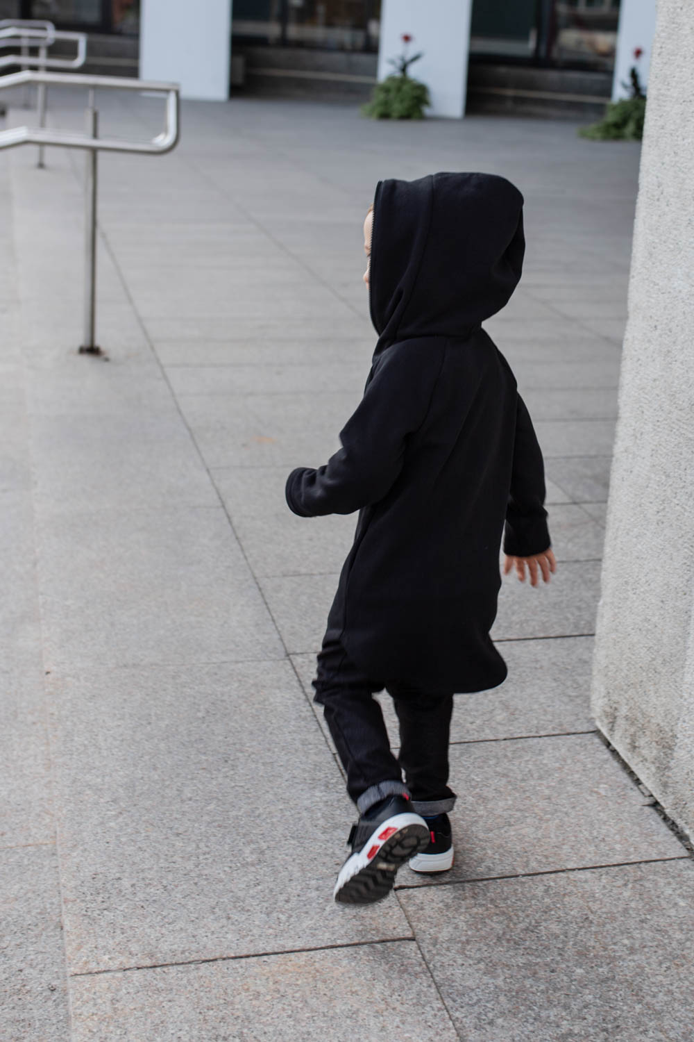 Black zipped jumper with hood for kid 'SEA'