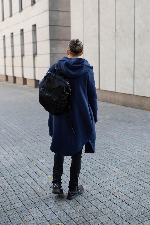 Long Navy unisex jumper with hood 'SEA'