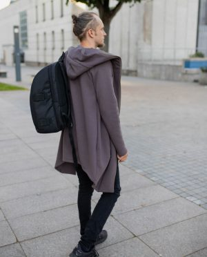 Long asymmetric hoodie with zipper - light brown 'WIND'