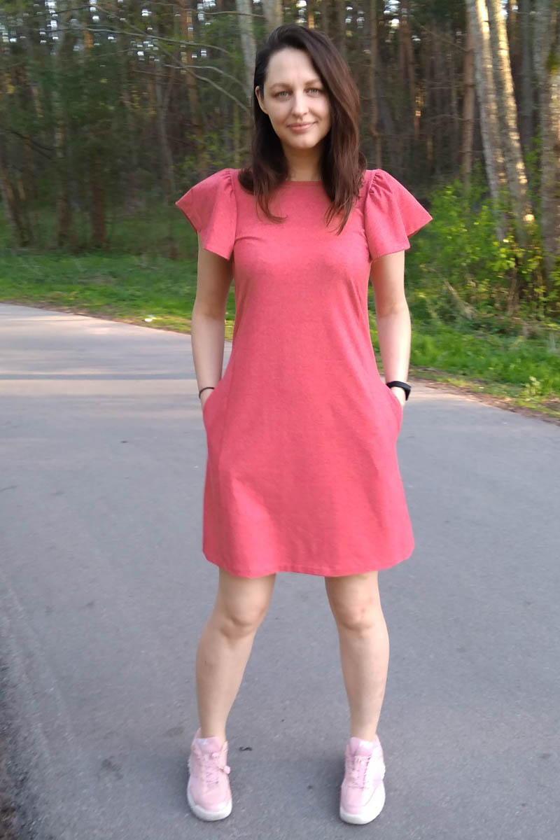 Red short summer dress with pockets 'BUTTERFLY'