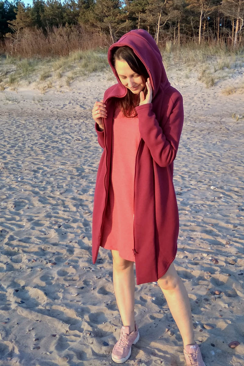 Women long hooded summer coat with zipper 'SEA' – Rhododendron