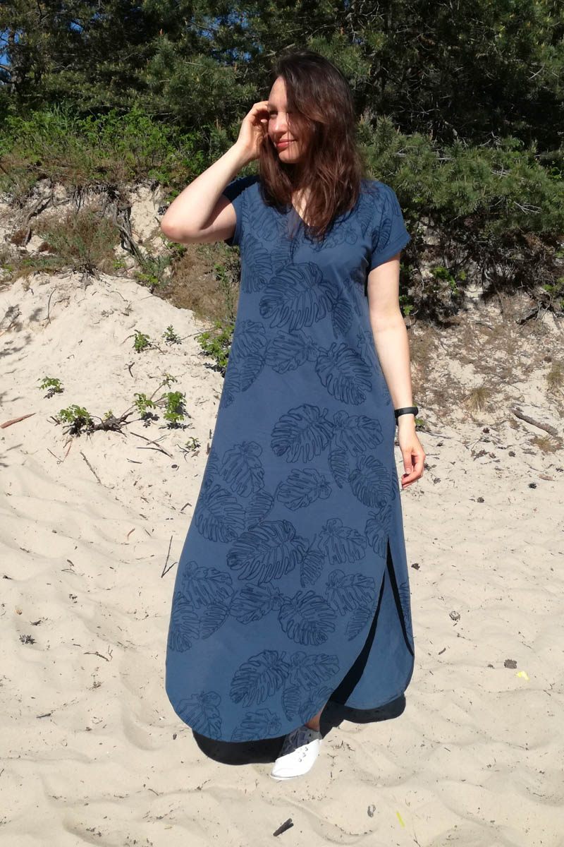 Blue Maxi sundress with flowers print