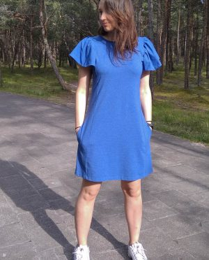Blue summer party dress with pockets 'BUTTERFLY'