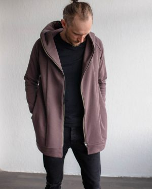 Brown unisex zipped jacket 'ROAD'