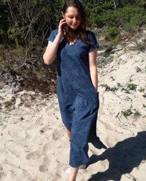 Ilga lengva medvilnės suknelė su kišenėmis 'LENGVUMAS'