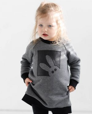 Warm jumper for girls 'BUNNY' - handmade from warm organic cotton knit with fleece inside. It is decorated with handmade eco leather application of 'BUNNY'.